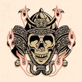Hełm samuraja z głową czaszki do projektowania tshirt lub towaru