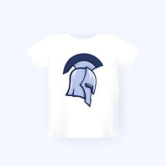 Hełm spartańskiego wojownika, nadruk na koszulce na białej makiecie