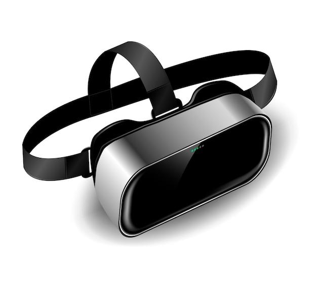 Hełm vr lub okulary wirtualnej rzeczywistości z cieniem na na białym tle w izometrii