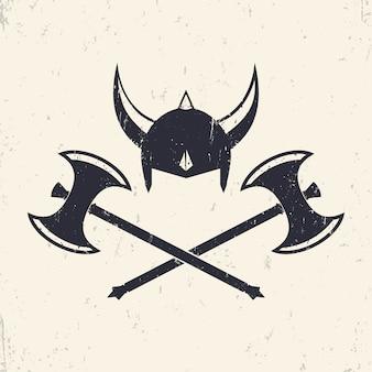 Hełm wikinga i skrzyżowane topory wikingów, ilustracja