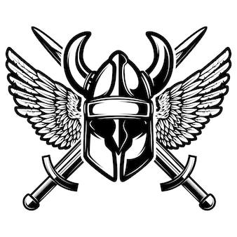 Hełm ze skrzyżowanymi mieczami i skrzydłami na białym tle. ilustracja.