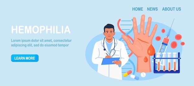 Hemofilia. mały lekarz bada niekrzepliwość krwi. ręka z krwawiącą, niezagojoną raną. lekarz leczy pacjenta z anemią, chorobą krwi. szczegółowy test na obecność czerwonych krwinek, płytek krwi