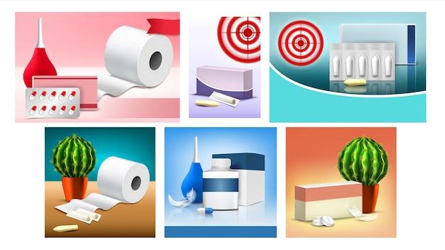 Hemoroidy czopki promo banery wektor zestaw. kolekcja kreatywnych plakatów reklamowych z pigułkami i opakowaniem czopków, papierem toaletowym i kaktusem. szablon realistyczne ilustracje 3d
