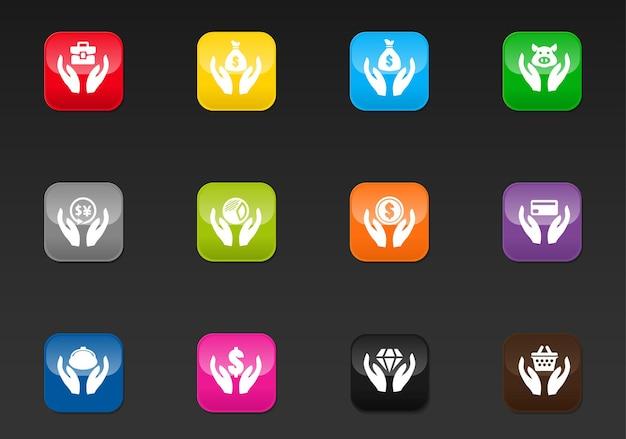 Hend i pieniądze wektorowe ikony do projektowania interfejsu użytkownika