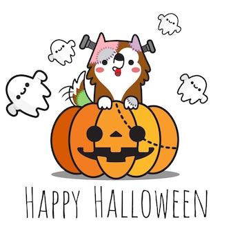 Heppy halloween pies na dyni i duchy latają.