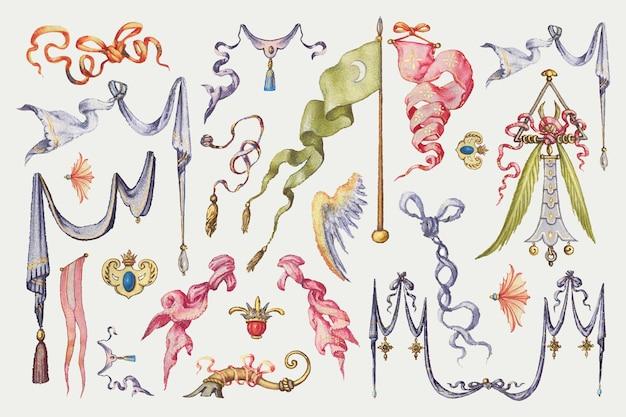 Heraldyczna wstążka i flaga średniowieczna kolekcja wektorów, remiks z the model book of calligraphy joris hoefnagel i georg bocskay