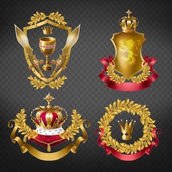 Heraldyczne emblematy królewskie ze złotymi koronami monarchy, tarczą, wieńcem laurowym, wstążką, czarem i mieczem