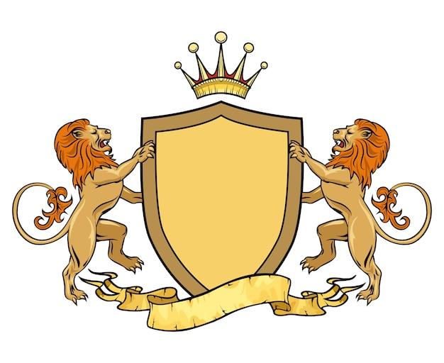 Heraldyczne lwy z tarczą i wstążką. herb. średniowieczne logo królewskie z herbem i herbem.