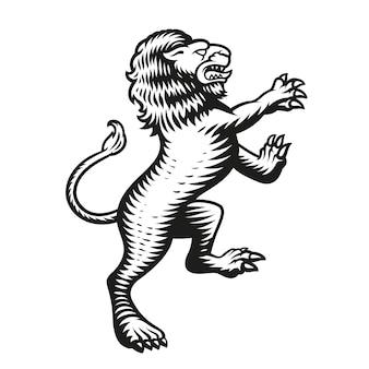Heraldyczny lew na białym tle
