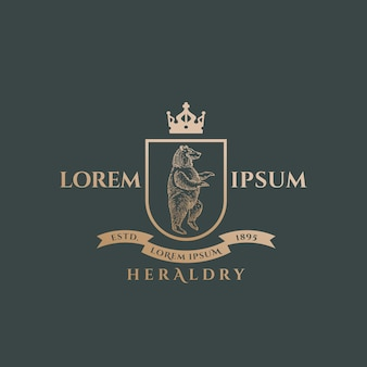 Heraldyka herb streszczenie znak, symbol lub szablon logo. golden bear sillhouette z tarczą, sztandarem, koroną i klasyczną retro typografią. godło vintage.