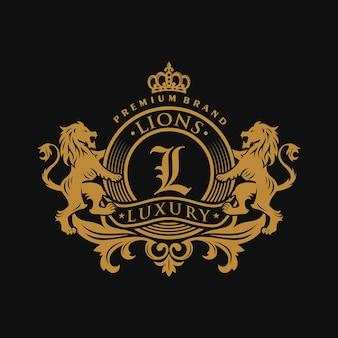 Heraldyka lew luksusowy szablon projektu