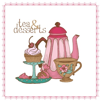 Herbata i desery - vintage card