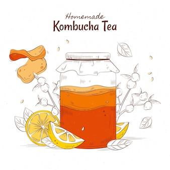 Herbata kombucha ręcznie rysowane w stylu