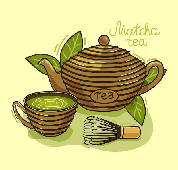 Herbata matcha - napój azjatycki. czajnik, liście herbaty matcha, filiżanka. ilustracja.