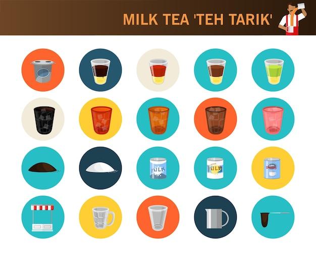 Herbata mleczna teh tarik koncepcja płaskie ikony