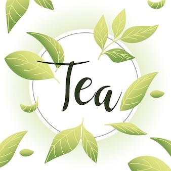 Herbata na pieczęci z liśćmi, napój śniadaniowy gorąca porcelana ceramiczna angielski i ilustracja motywu zaproszenia