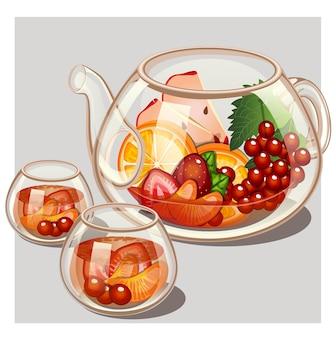 Herbata owocowa z imbryk i okulary na szarym tle