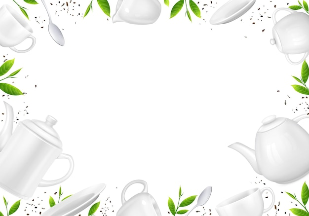 Herbata realistyczna kompozycja luźnych liści herbaty i ilustracji czajniki