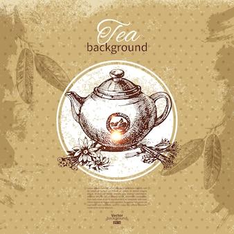 Herbata tło. ręcznie rysowane szkic ilustracji. projekt menu