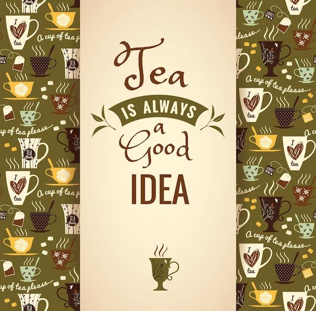 Herbata w tle. plakat z typografią