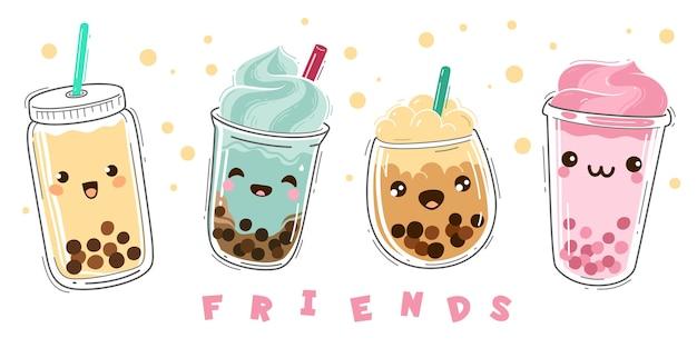 Herbata z bąbelkami. popularna herbata mleczna z tapioką, nowoczesny tajwański płynny deser perłowy z kulkami, miękka boba pije plastikowy kubek z emocjami uśmiech twarze postacie, zielona i owocowa kreskówka wektor zestaw