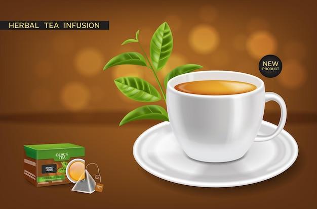 Herbata ziołowa napar makieta wektor realistyczne. projekty etykiet lokowania produktu