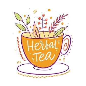Herbata ziołowa w żółtym kubku. ręcznie rysowane stylu cartoon. na białym tle