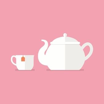 Herbaty Ceramiczny Czajniczek I Kubek Wektor Premium