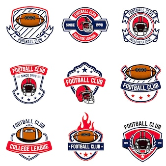 Herby futbolu amerykańskiego. element logo, etykiety, znaku. wizerunek