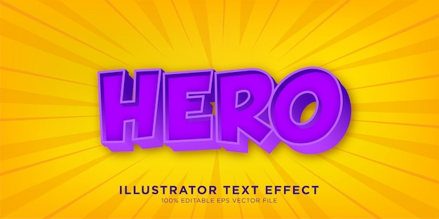 Hero purple text effect design styl programu illustrator