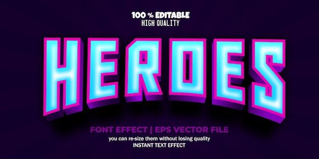 Heroes edytowalny szablon stylu tekstu wektorowego