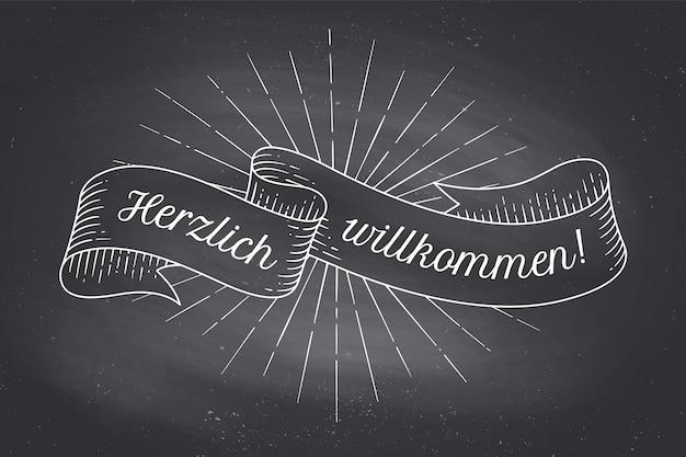 Herzlich wllkommen, oldschoolowa wstążka w stylu vintage