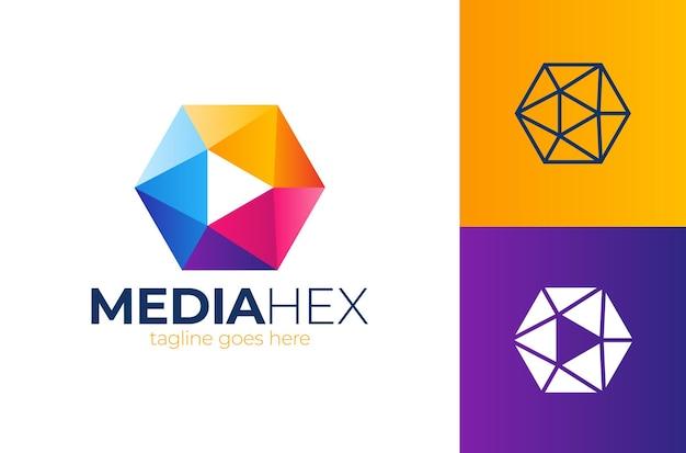 Hexa media play logo sześciokątny kształt ramki szablon logo branży tech