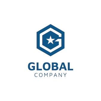 Hexagon z początkowym logo g i star