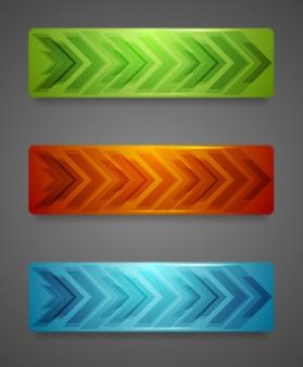 Hi-tech abstrakcyjne banery ze strzałkami. tło wektor