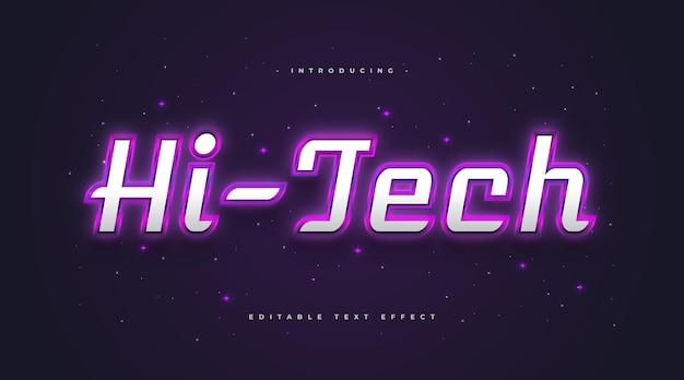 Hi-tech styl tekstu ze świecącym fioletowym efektem neonu