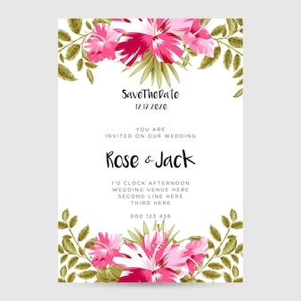 Hibiscus modern wedding card