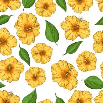 Hibiskus kwitnie bezszwowego wzór z liści tropikalnymi kwiatami. letni design