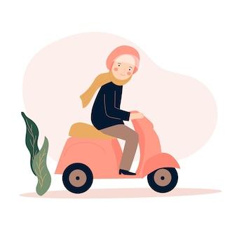 Hidżab kobieta jeżdżąca motocyklem płaska ilustracja