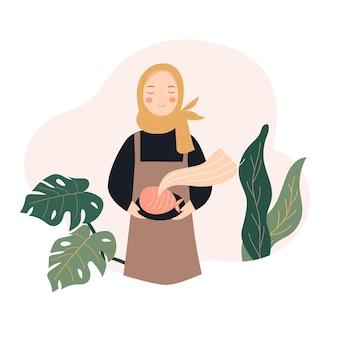 Hidżab kobieta nosić fartuch płaska ilustracja