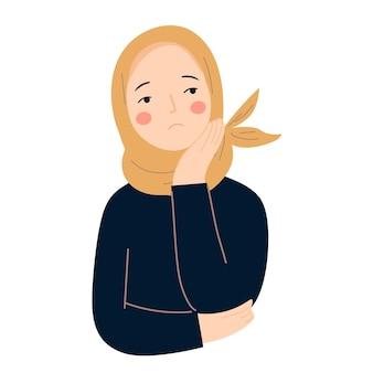 Hidżab kobieta ze smutnym wyrazem płaskiej ilustracji