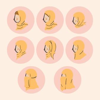 Hidżab kobiety boczny profil głowy ikona postać z kreskówki