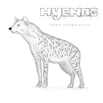 Hieny ręcznie rysowane ilustracja zwierząt