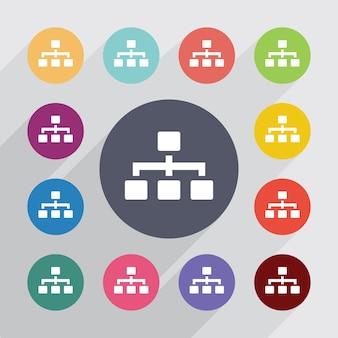 Hierarchia, zestaw ikon płaski. okrągłe kolorowe guziki. wektor