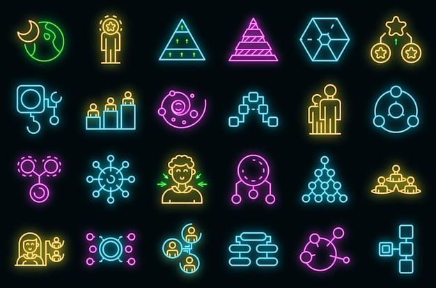 Hierarchia zestaw ikon wektorowych neon