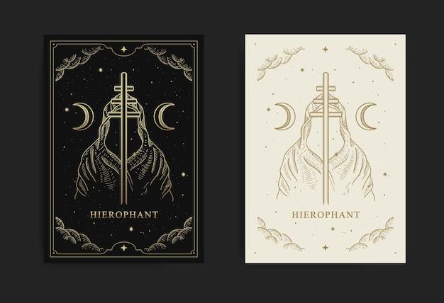Hierofant. karta tarota wielkie arkana, z grawerowaniem, luksusem, ezoterycznymi, boho, duchowymi, geometrycznymi, astrologicznymi, magicznymi motywami, dla karty czytnika tarota.