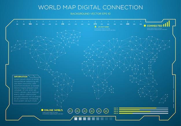 High tech mapa świata cyfrowy interfejs tła