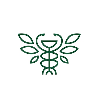 Higiea miska kaduceusz liść apteka medycyna medyczne logo wektor ikona ilustracja
