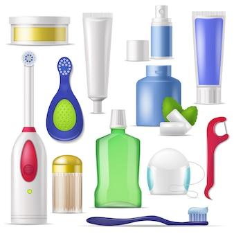Higiena jamy ustnej wektor szczoteczka do zębów i pasta do zębów z płynem do płukania do czyszczenia zębów ilustracja zestaw stomatologii nici dentystycznej lub wykałaczki izolowane