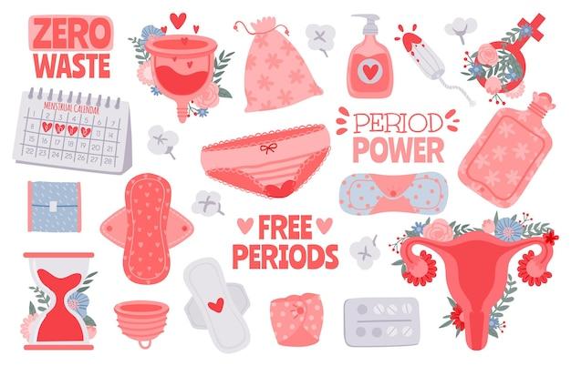 Higiena menstruacyjna. produkty menstruacyjne dla kobiet - tampon, podpaski, kubeczek menstruacyjny. zero odpadów dla kobiet krytycznych dni wektor zestaw. miesiączka kobieca, ilustracja kobiecej opieki menstruacyjnej